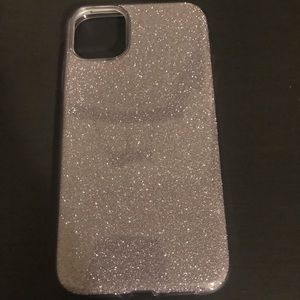 iPhone 11 silver glitter case new!